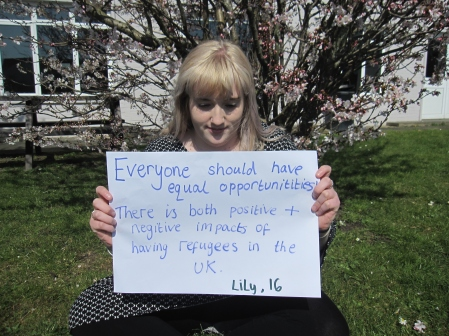 Lily Parsons expressing her views on refugees