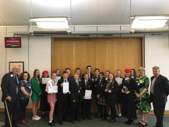 Young people with their Democracy Awards 2018