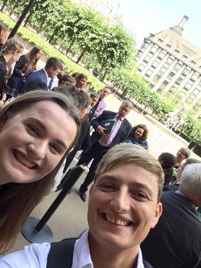 Caz and Kelly with youth cabinet on tour of parliament
