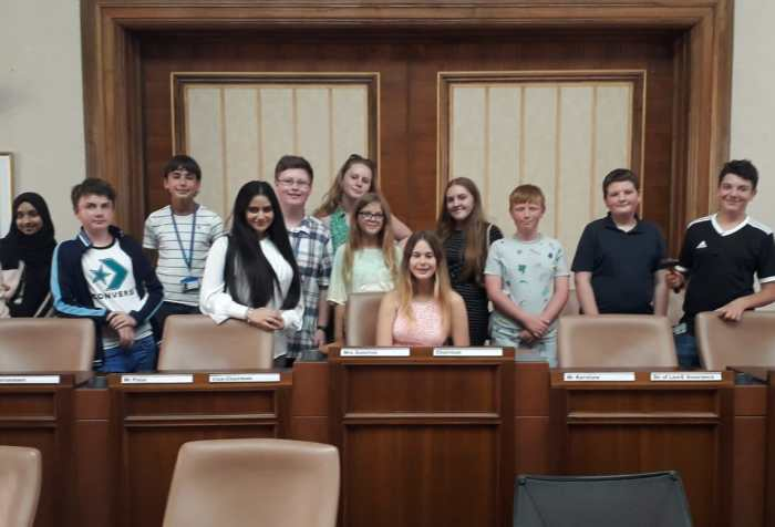 Youth Cabinet in West Sussex's County Council Chambers